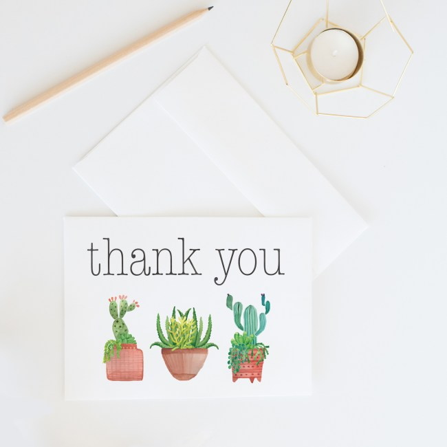 Potted Succulents Thank You Card || Send some whimsical snail mail with this nature inspired thank you card by Eight Pepperberries