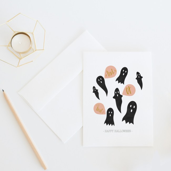 Trick or Treat Halloween Ghosts Card || Send some ghoulish fun with this Halloween card by Eight Pepperberries