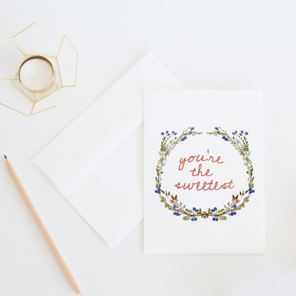 You're The Sweetest Thank You Card || Send some whimsical snail mail with this blueberry floral thank you card by Eight Pepperberries