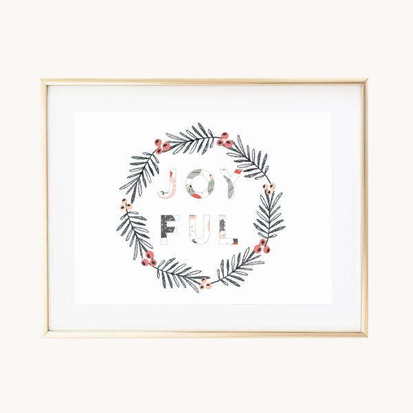 Joyful Ornaments Wreath|| A whimsical art print celebrating the Christmas season featuring an illustrated stamped wreath and berries. Joyful block letters with illustrated ornaments >> Eight Pepperberries