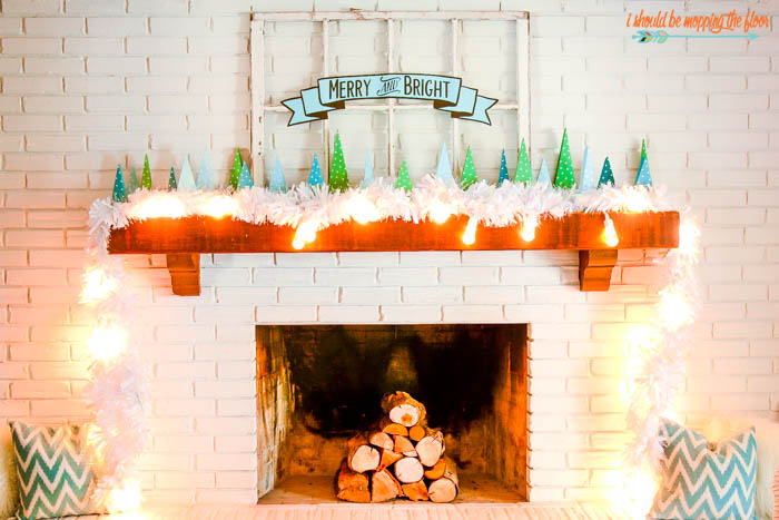 Christmas Mantel Decor by I Should Be Mopping The Floor featured at the Totally Terrific Tuesday Link Party hosted by Eight Pepperberries