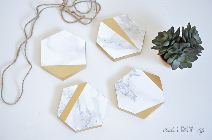 DIY Hexagonal Marble & Gold Coasters by Anika's DIY Life at the Totally Terrific Tuesday Link Party hosted by Eight Pepperberries