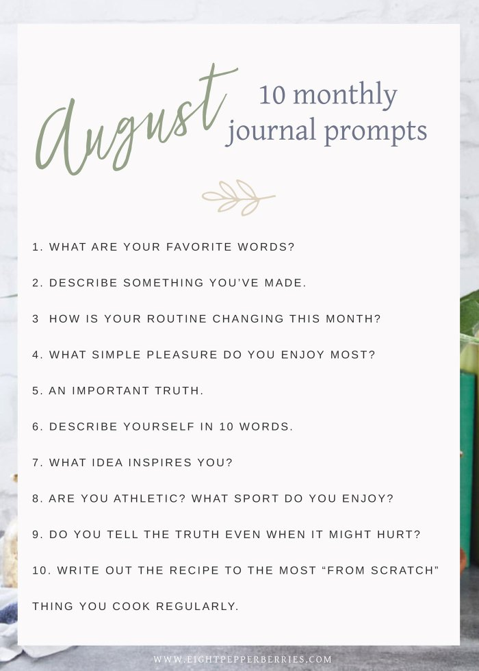 August 2018 Journal Prompts by Eight Pepperberries. New Prompts Released Each Month!