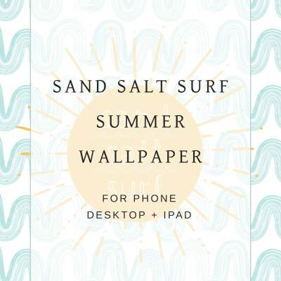 Have some fun in the sun with the Sand Salt Surf summer wallpaper for by Eight Pepperberries. Download the wallpaper here: https://bit.ly/2t552zJ