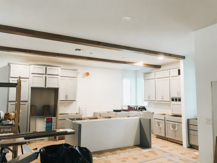 Little Gray House Ceiling Beams in Kitchen