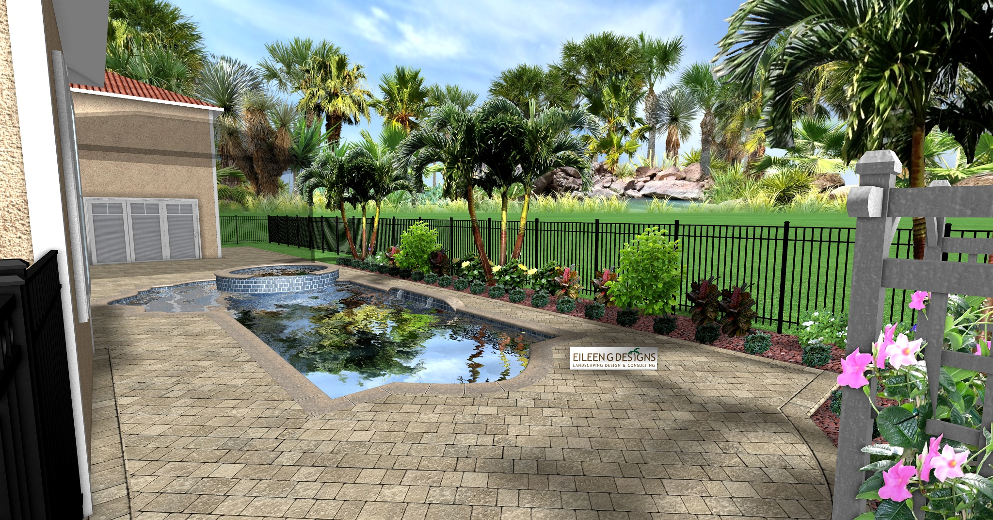 » TROPICAL LANDSCAPING AND PAVER DECK FOR SMALL POOL AREA on Tropical Landscaping Ideas For Small Yards id=58142