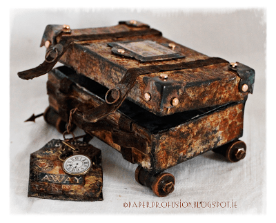 Art with Heart March Challenge Top 3: Altered Suitcases by Paper Profusions | Eileenhull.com