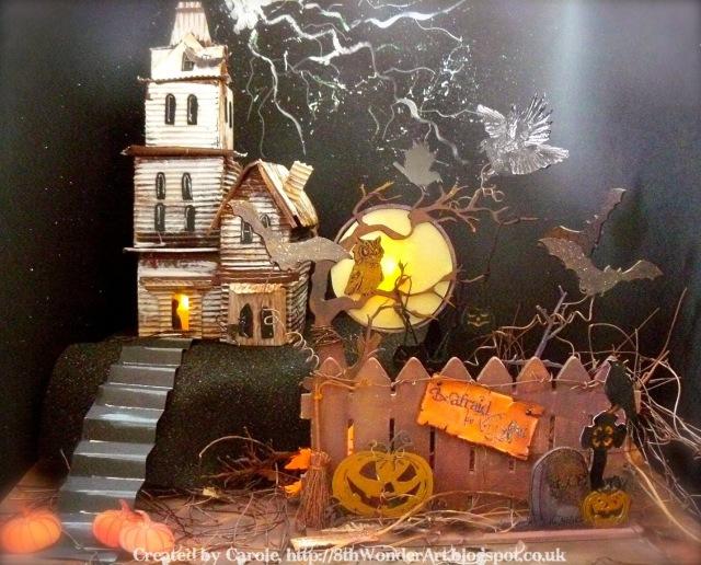 Corrugated Cardboard Halloween ATB Scene by Carole Z