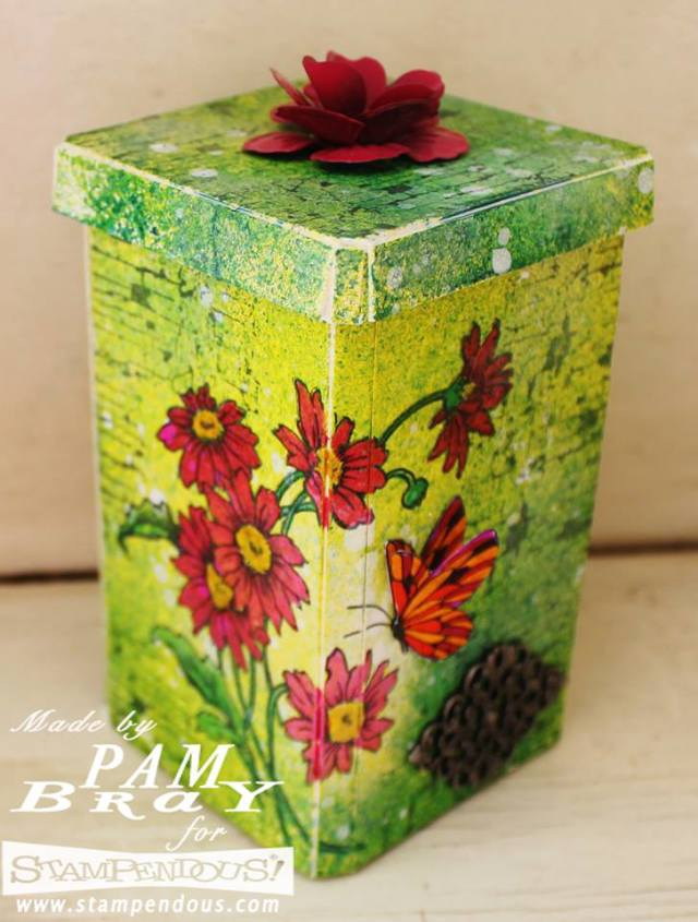 Sizzix Daisy Canister with Stampendous and DecoArt Media by Pam Bray