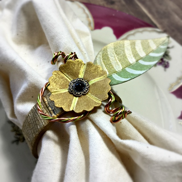 New Sizzix Paper Flower Projects: Upcycled  Floral Napkin Ring Tutorial by Michelle Zerull