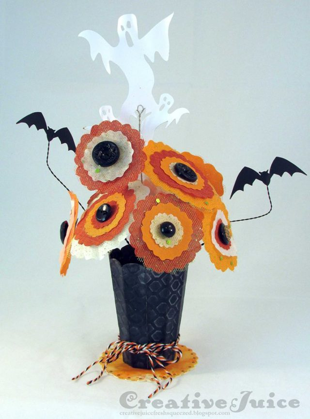 Halloween Sizzix Projects: Haunted Halloween Flowers with 3-D Vase by Lisa Hoel