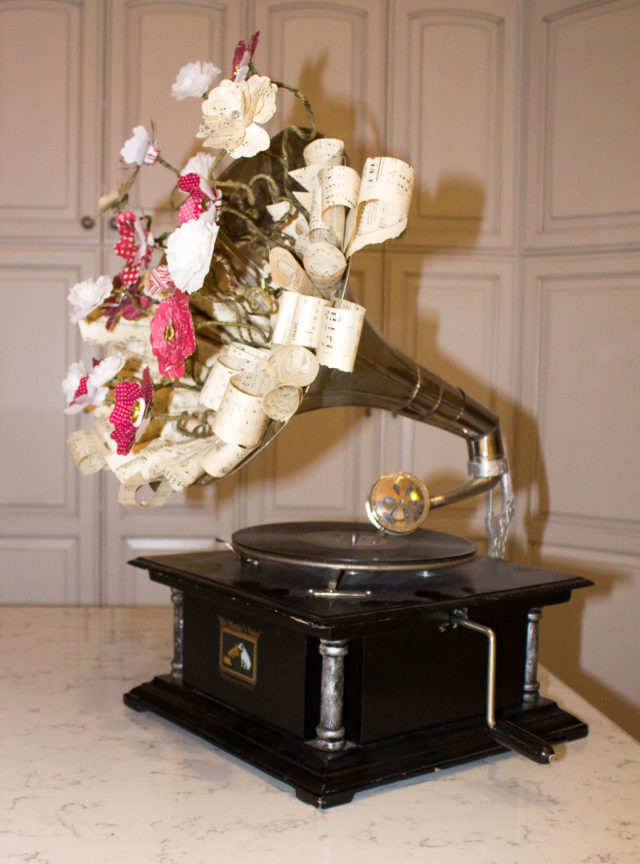 Paper Flower Gramophone by Christie Troxell Ritzyparties.com