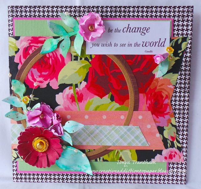 More Sizzix Card Making Ideas: Eileen Hull Paper Flower Embroidery Hoop Card by Tonya Trantham