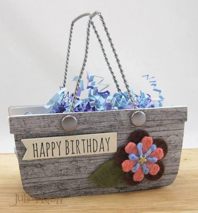Heartfelt Sizzix Project Ideas : Happy Birthday Basket by Julia Aston