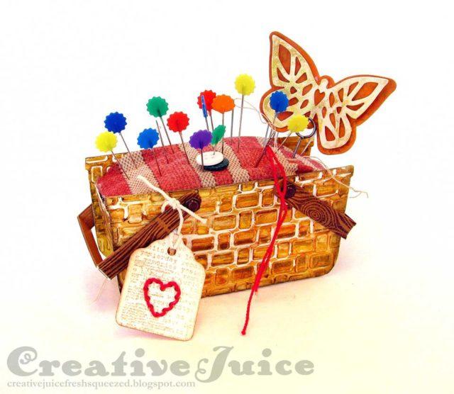 Heartfelt Sizzix Project Ideas: Pincushion Basket by Lisa Hoel
