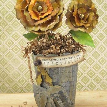 Faux Gilded Sizzix Flowers with 3-D Vase