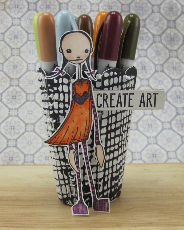 Stampotique Sizzix Project Tutorials: 3D Vase Distress Crayon Holder by Julia Aston