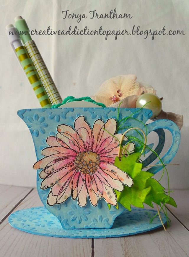 Ultimate List of Stampotique Sizzix Project Tutorials: Embossed Floral 3D Tea Cup by Tonya Trantham