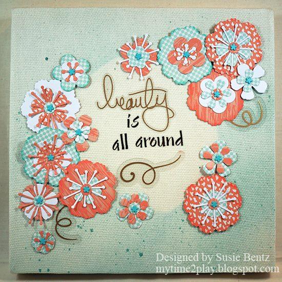 Heartfelt Sizzix Journal Ideas: Sizzix Stitchy Flowers Canvas by Susie Bentz
