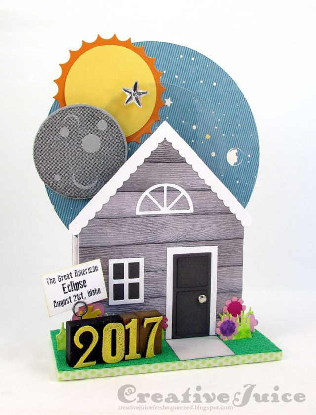 Unique Heartfelt Sizzix Tutorials: Solar Eclipse 2017 House Pocket Project by Lisa Hoel