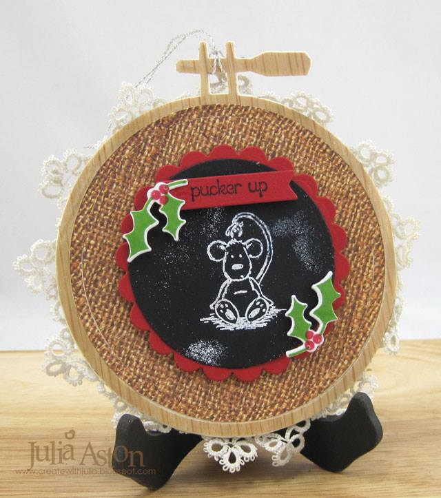 Eileen Hull Holiday Craft Project Techniques and Tutorials: Embroidery Hoop Christmas Ornament by Julia Aston