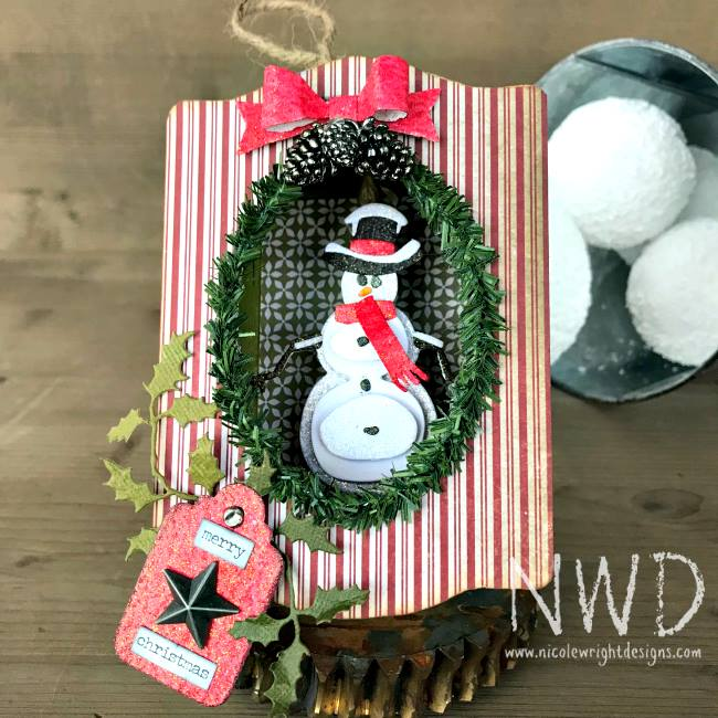 Eileen Hull's Book Club Sizzix Collection: Trinket Box and Frame Snowman Ornament by Nicole Wright