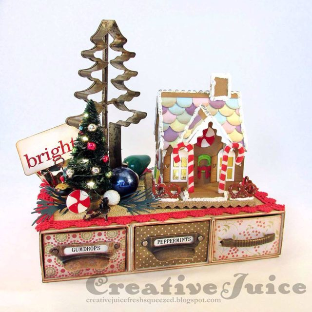 Gifts to Die For Ebook Projects and More! : Christmas Candy Drawer with Gingerbread House by Lisa Hoel