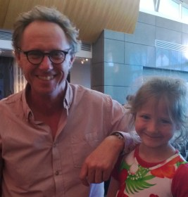 Kyle with a fan at Te Papa's launch of The Curioseum