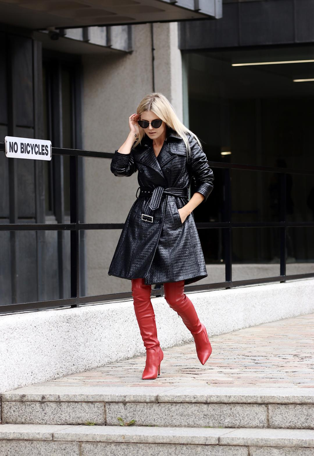 preen leather coat debenhams red thigh high boots riverisland