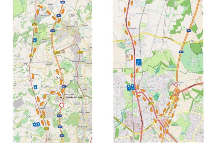 Vollsperrung A 7 zwischen AS HH-Schnelsen Nord und AS Quickborn von Sonnabend 20.5., 21:00 Uhr, bis Sonntag 21.05.,9:00 Uhr. Foto: Via Solutions Nord