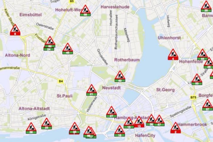 Eine Übersicht der Baustellen von der Stadt Hamburg bereitgestellt. Kleinere Baumaßnahmen sind nicht mit abgebildet. Quelle: www.hamburg.de/baustellen/