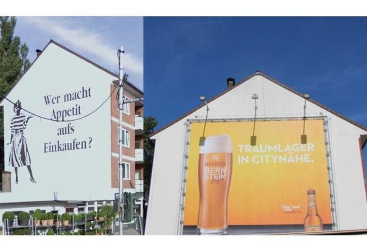 Werbetafel ersetzt Supermarkt-Wandmalerei an der Bismarckstraße, Ecke Hoheluftchaussee. Quellen: Google Maps/Nele Deutschmann