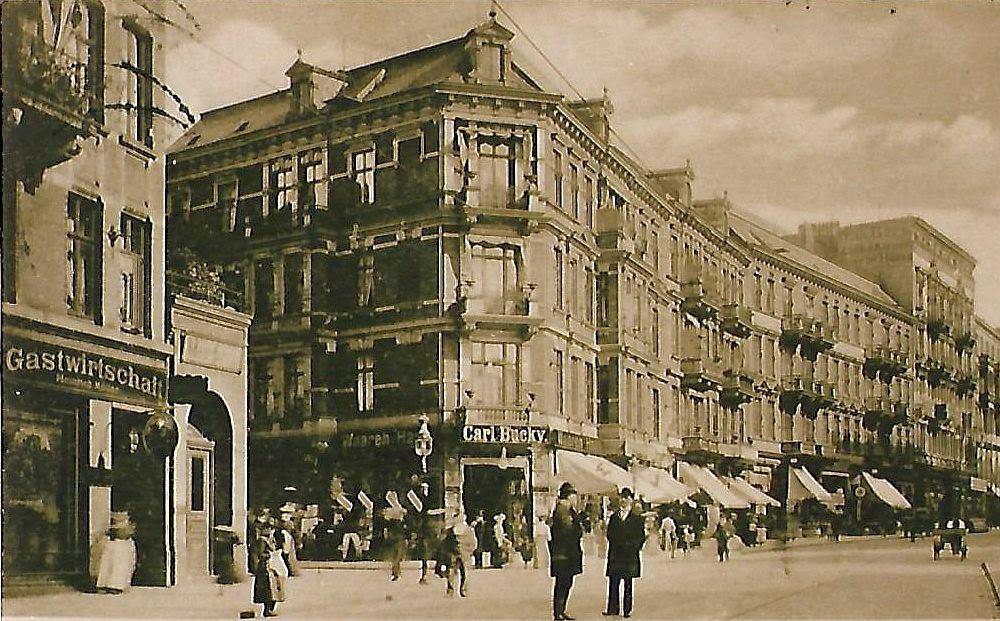 """BU: Historische Postkarte mit Kaufhaus """"Carl Bucky"""""""
