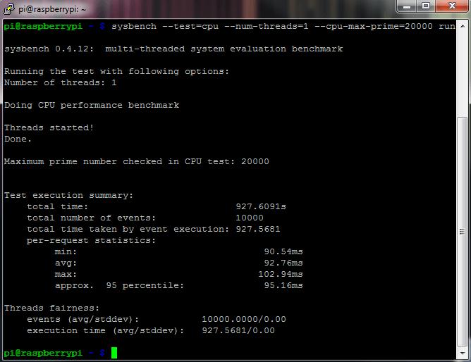 Sysbench Raspberry Pi Zero