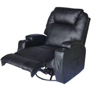 Schwarzer Fernsehsessel mit ausklappbarer Fußstütze