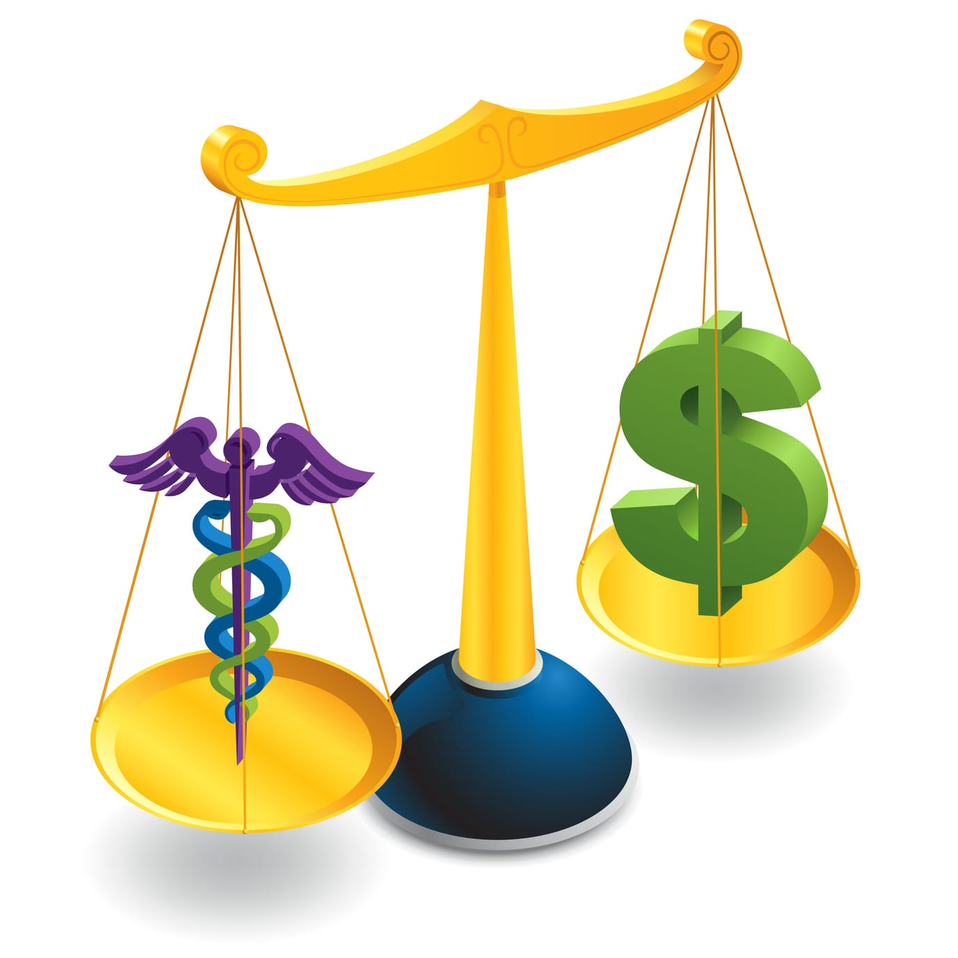 Dollar symbol balances medical symbol on scales.