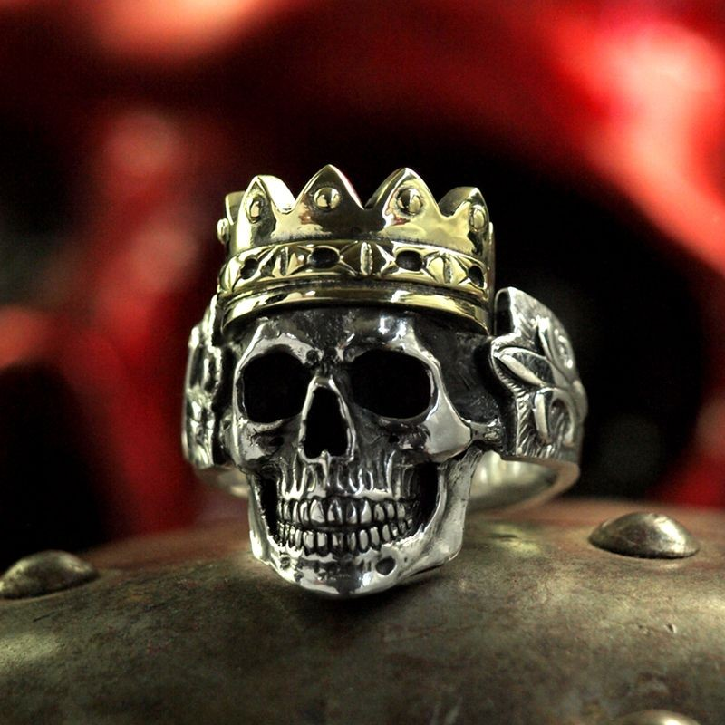 Silver Skull Ring With Crown Anatomically Correct