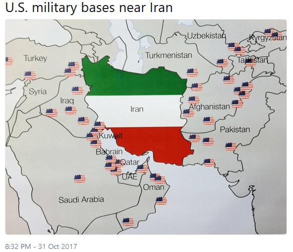 Bases militares americanas perto do Irã