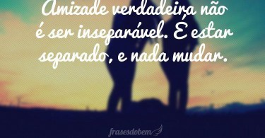 Amizade verdadeira não é ser inseparável...