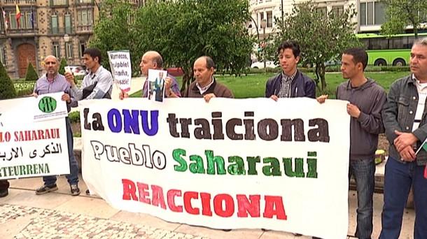 La playa Moyua ha acogido la protesta de los saharauis. Foto: EiTB