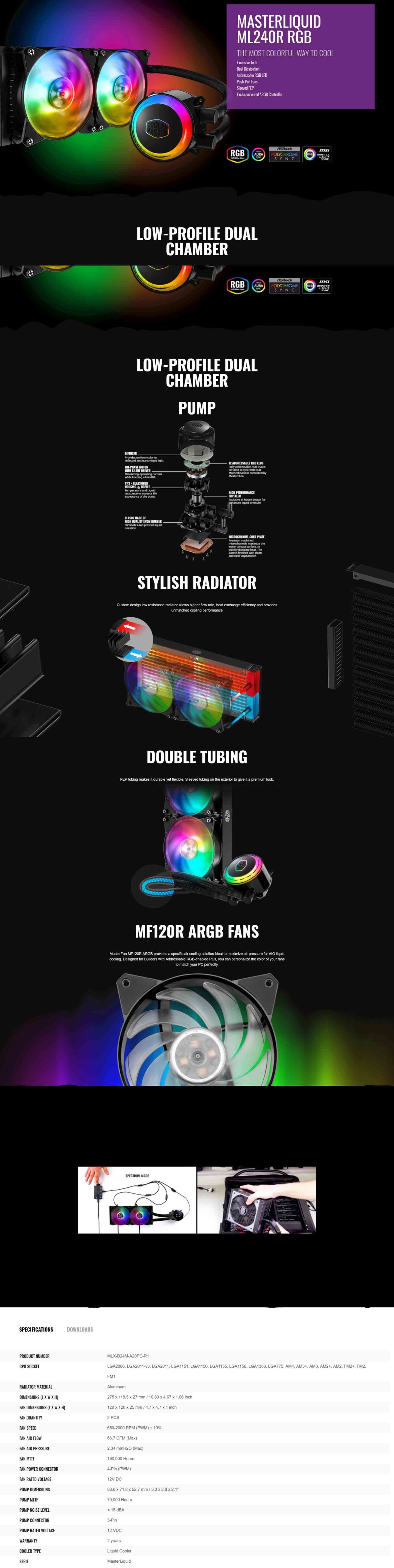 Cooler Master MasterLiquid ML240R RGB CPU Liquid Cooler - Product No:  MLX-D24M-A20PC-R1
