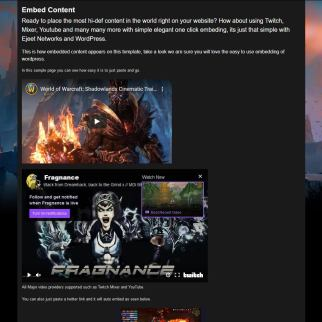 Embed twitch youtube mixer and more in shadowlands wordpress theme