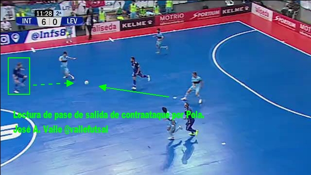Pola, jugador de Movistar Inter FS leyendo el pase de salida