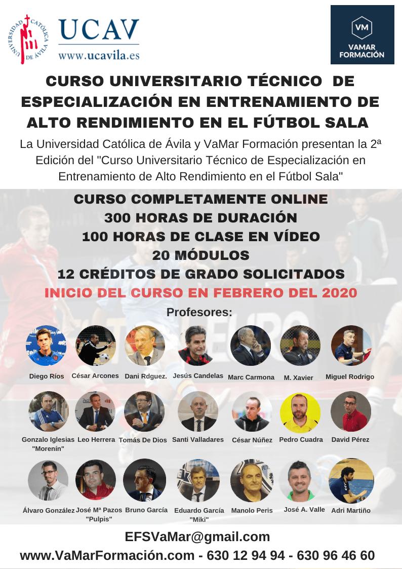 """II Edición del """"Curso Técnico Universitario de Especialización en el Entrenamiento de Alto Rendimiento de Fútbol Sala"""""""