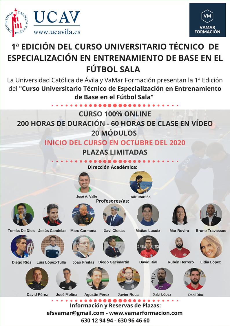 Profesores y profesoras de la 1ª Edición del Curso Universitario Técnico de Especialización en Entrenamiento de Base de Fútbol Sala