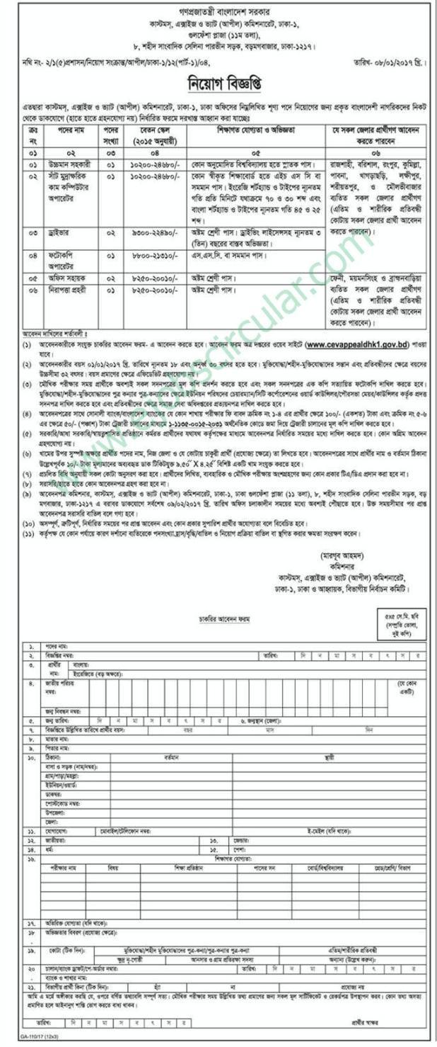 Customs Excise VAT Job Circular