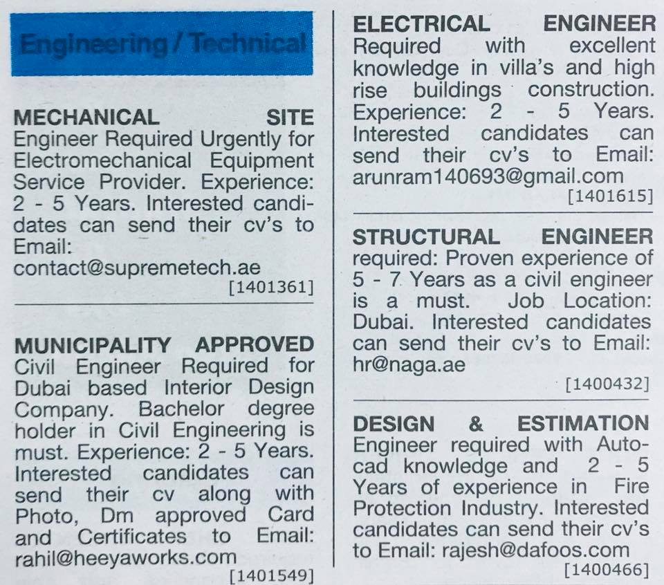 Job Vacancy In Dubai For Engineers High Paying