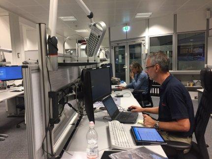 Setting up tweetdecks at ESOC mission control for Rosetta Grand Finale.