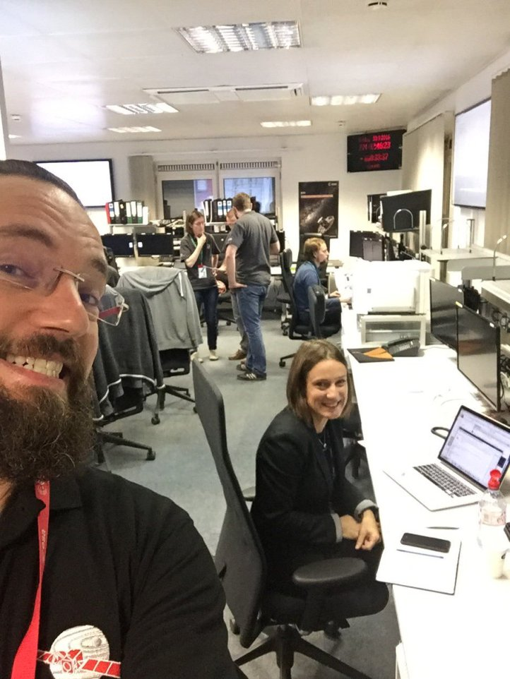 Emily ready to go with Rosetta mission scientist Matt Taylor.