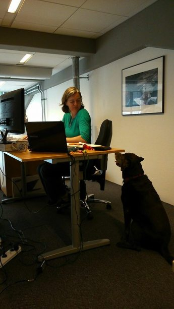 Maria and beloved canine coworker Teasle (RIP).